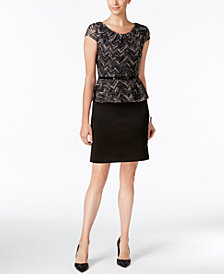 03700d35764 Connected Petite Belted Jacquard Peplum Dress. Connected Petite Belted  Jacquard Peplum Dress. Cyber Monday Special.  69.00. Sale  33.99
