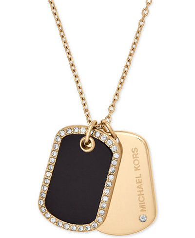 Michael Kors Pavé & Stone Dog Tags Pendant Necklace