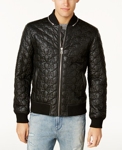 GUESS Men's Star-Quilted Bomber Jacket - Coats & Jackets - Men ...