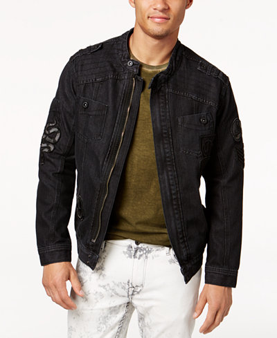 Ring of Fire Men's Black Zip Denim Jacket, Only at May's - Coats ...