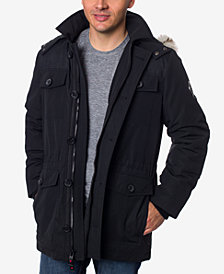 HFX Men's Faux-Fur Trimmed Hooded Parka