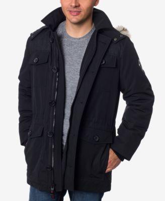 Mens fur hood parka coats