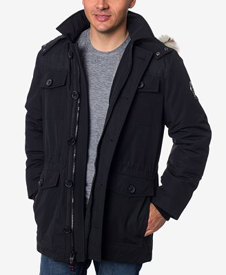 HFX Men's Faux-Fur Trimmed Hooded Parka - Coats & Jackets - Men ...