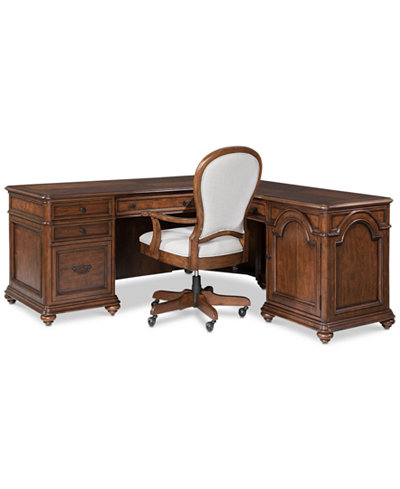 Clinton Hill Cherry Home Office Furniture, 2-Pc. Set (L-Shaped Desk & Desk Chair), Created for Macy's