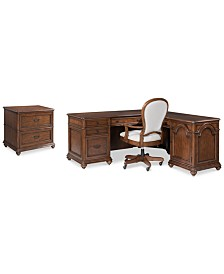 Clinton Hill Cherry Home Office Furniture, 3-Pc. Set (L-Shaped Desk, Lateral File Cabinet & Upholstered Desk Chair), Created for Macy's