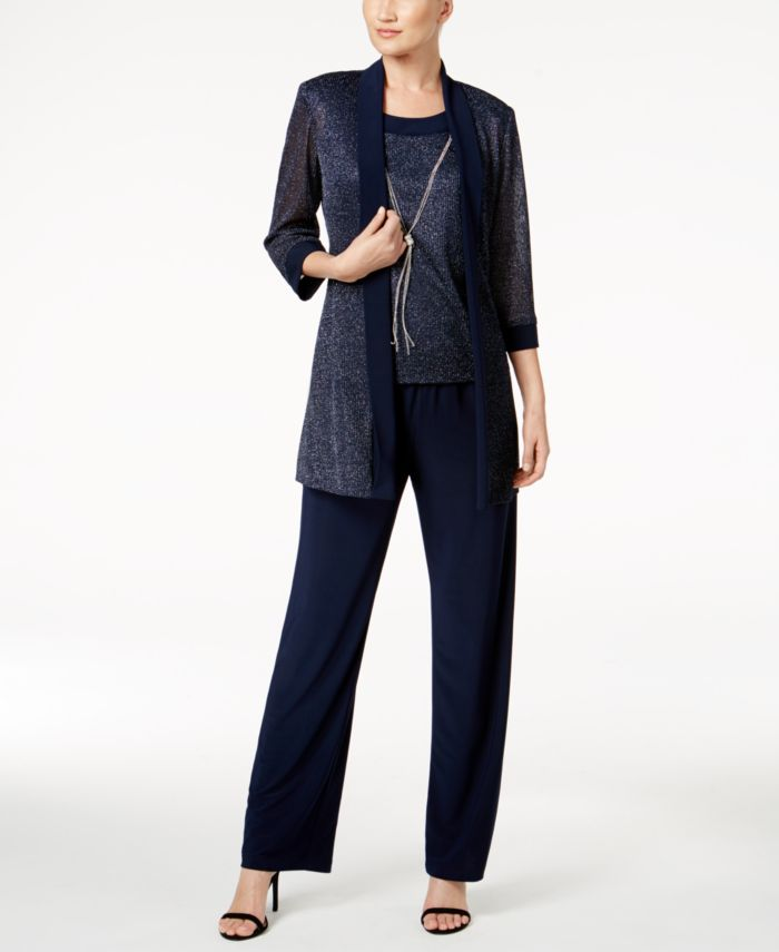 R & M Richards Metallic Pantsuit, Shell & Necklace Set & Reviews - Women's Brands - Women - Macy's