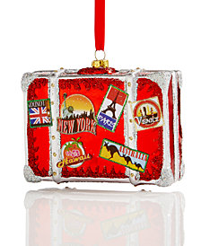 Holiday Lane Glass World Traveler Suitcase Ornament, Created for Macy's