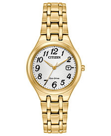 Citizen Eco-Drive Women's Gold-Tone Stainless Steel Bracelet Watch 28mm