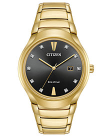 Citizen Eco-Drive Men's Diamond-Accent Gold-Tone Stainless Steel Bracelet Watch 40mm