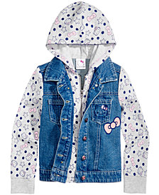 Hello Kitty Little Girls Denim Hooded Jacket