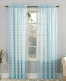 "Lichtenberg No. 918 Mora 59"" x 63"" Fretwork-Print Sheer Voile Rod Pocket Curtain Panel"