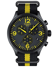 Men's Swiss Chronograph Chrono XL Tour De France 2017 Black & Yellow Nato Synthetic Strap Watch 45mm