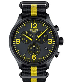 Tissot Men's Swiss Chronograph Chrono XL Tour De France 2017 Black & Yellow Nato Synthetic Strap Watch 45mm