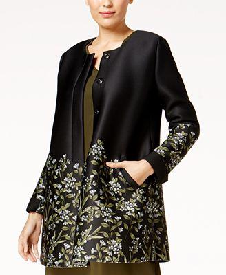 Alfani Floral-Print Scuba Swing Jacket, Created for Macy's