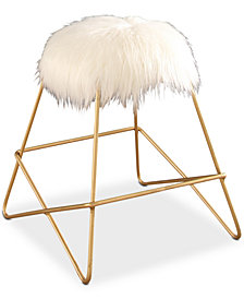 Gisele Faux Fur Vanity Stool, Quick Ship