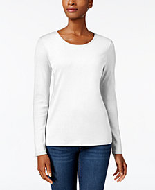 Charter Club Pima Cotton Long-Sleeve Top, Created for Macy's