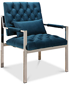 Genny Stainless Steel Accent Chair, Quick Ship