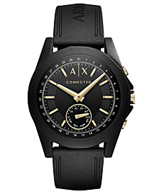 A|X Men's Connected Black Silicone Strap Hybrid Smart Watch 44mm