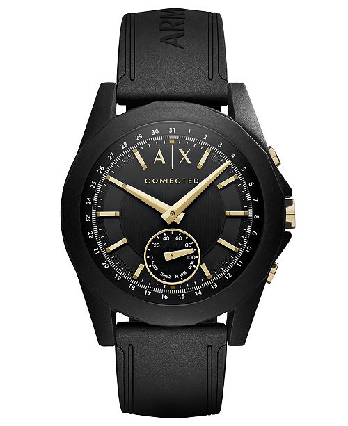 A|X Armani Exchange Men's Connected Black Silicone Strap Hybrid Smart Watch 44mm