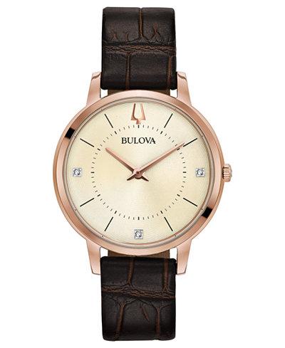 Bulova Women's Diamond-Accent Brown Leather Strap Watch 36mm