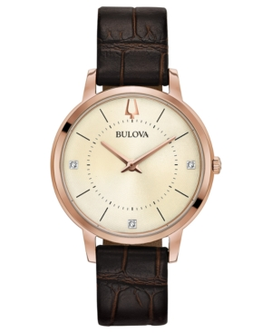 Bulova WOMEN'S DIAMOND-ACCENT BROWN LEATHER STRAP WATCH 36MM