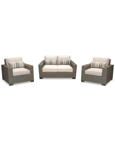 Del Mar 3-Pc. Set (1 Loveseat & 2 Club Chairs), Created for Macy's