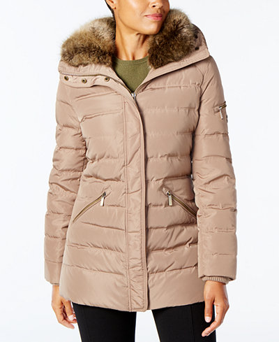 Michael Michael Kors Plus Size Faux Fur Collar Down Coat