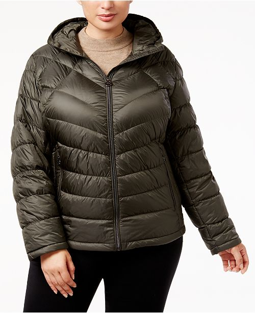 cedf3f9d9525d Michael Kors Plus Size Chevron Packable Puffer Coat   Reviews ...