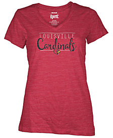 Royce Apparel Inc Women's Louisville Cardinals Jazz Script V-Neck T-Shirt