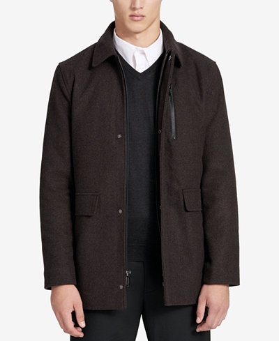 Calvin Klein Men's Long Shirt Collar Wool Overcoat