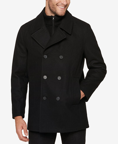 Marc New York Men's Pea Coat with Rib Knit Inset - Coats & Jackets ...