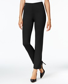 JM Petite Collection Ponte Pull-On Straight-Leg Pants, Created for Macy's