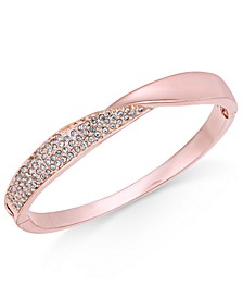 Rose Gold-Tone Pavé Twist Hinged Bangle Bracelet, Created for Macy's
