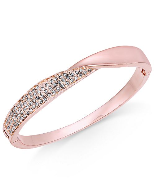 Charter Club Rose Gold-Tone Pavé Twist Hinged Bangle Bracelet, Created for Macy's