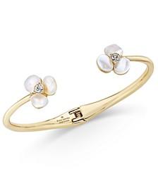 Gold-Tone Pavé & Imitation Pearl Hinged Slim Cuff Bracelet