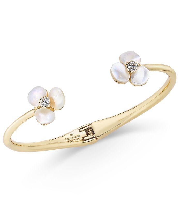 kate spade new york - Gold-Tone Pavé & Imitation Pearl Hinged Slim Cuff Bracelet