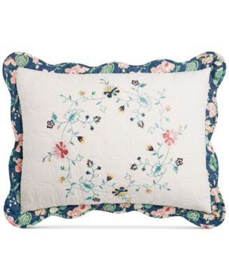 Embroidered Wreath Quilted Standard Sham, Created for Macy's