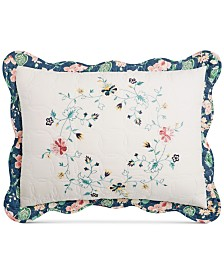 Martha Stewart Collection Embroidered Wreath Quilted Standard Sham, Created for Macy's