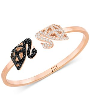 Gold-Tone Pave Swan Hinged Cuff Bracelet in Rose Gold
