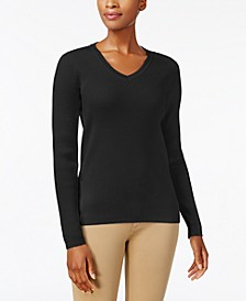Petite Ribbed-Knit Cotton Sweater, Created for Macy's