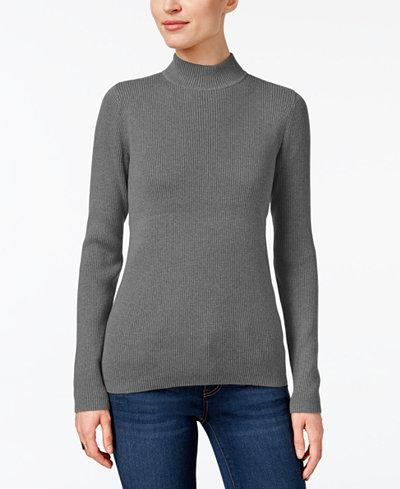 Karen Scott Petite Cotton Mock-Neck Sweater, Created for Macy's