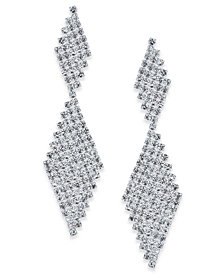 I.N.C. Silver-Tone Crystal Mesh Drop Earrings, Created for Macy's