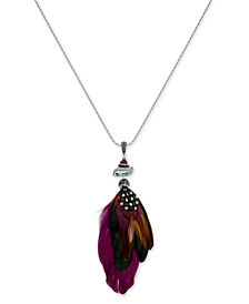 Paul & Pitü Naturally Silver-Tone Stone & Feather Long Pendant Necklace