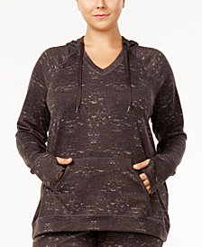 Ideology Plus Size Space-Dyed Hooded Top, Created for Macy's