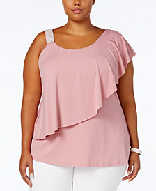 Belldini Plus Size Studded-Strap Ruffled Top