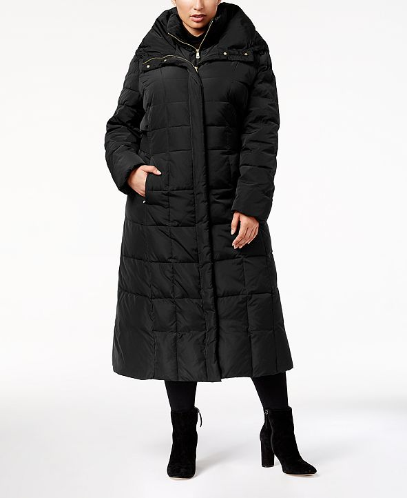Cole Haan Signature Plus Size Hooded Maxi Puffer Coat