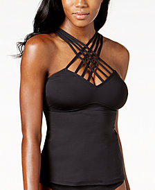 Kenneth Cole Strappy Tummy-Control Tankini Top