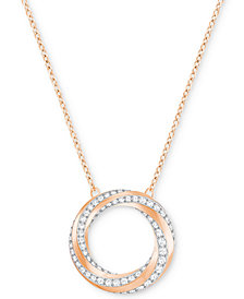 Swarovski Pavé Swirl Circle Pendant Necklace