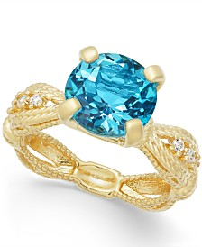 Swiss Blue Topaz (3-1/2 ct. t.w.) & Diamond (1/10 ct. t.w.) Ring in 14k Gold-Plated Sterling Silver