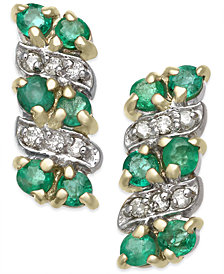 Emerald (1/2 ct. t.w.) & Diamond Accent Drop Earrings in 14k Gold